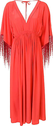 Forte_Forte V-neck fringed dress - Laranja