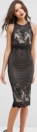 Asos Tall Lace Crop Top Pencil Midi Dress-Black