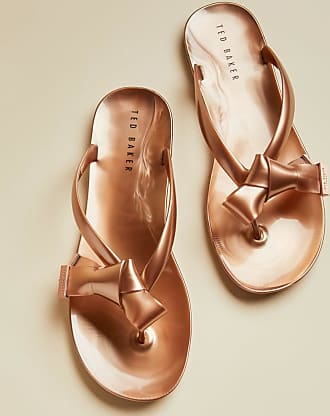 Ted Baker Bow Detail Flip Flops in Rose Gold LUZZI, Womens Accessories