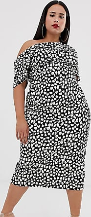 Asos Curve ASOS DESIGN Curve - Vestito longuette bianco e nero a pois con pinces sulla spalla-Multicolore