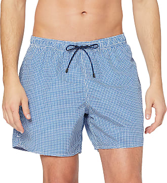 Emporio Armani Mens Boxer Swim Shorts, Multicoloured (Bianco/Blu Nautica 58510), Medium (Manufacturer size: 50)