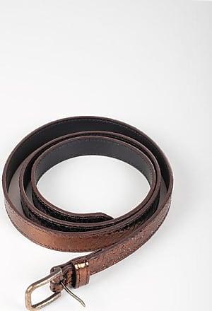 Dries Van Noten Leather Slim Belt with Vintage Effect Buckle 19mm Größe 75