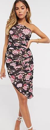 Asos one shoulder ruched mesh midi dress in floral rose print-Multi