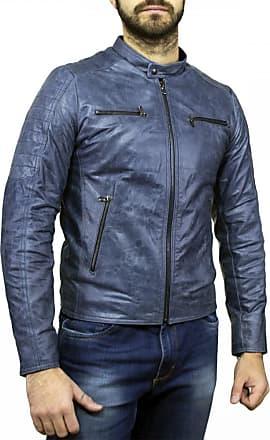 Leather Trend Italy U05 - Giacca Uomo in Vera Pelle colore Blu Oil Vintage