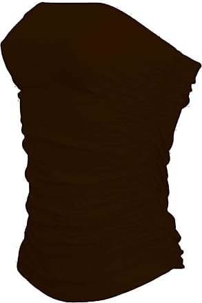 Janisramone Womens New Boobtube Bandeau Strapless Top Ladies Both Side Ruched Crop Bra Vest Top Brown