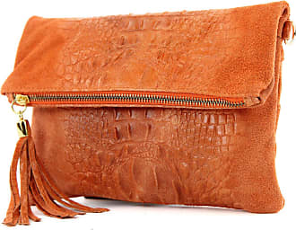 modamoda.de ital. Leather bag clutch bag shoulder bag suede/croco T54KR, Colour:Orange suede/crocodile