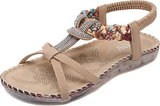 Insun Womens Beige Beaded Flat Sandal 6 UK