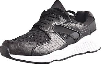 True Face Ladies Diamante Trainers Shoes Black UK 4 / EU 37