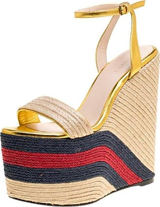 f1393ba1509a Gucci Metallic Leather Web Platform Ankle Strap Espadrille Wedge Sandals  Size 37