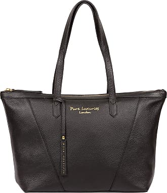Pure Luxuries London Pure Luxuries London Kelly Womens 43cm Biodegradable Leather Tote Bag with Zip Over Top, Unlined Central Compartment and Matching Leather Handles in B
