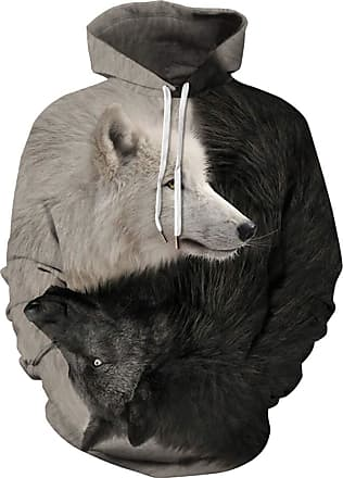 EUDOLAH Mens Hoodie Animal Pattern with 3D Print Design Halloween Costume Christmas Hoodie Long Sleeve(UK 20-22 (Tag 5XL),Wolves 125)