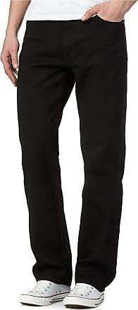 Islander Fashions DIGITAL SPOT Adults Fancy Novelty Straight Leg Plain Pants Mens Heavy Duty Work Wear Denim Jeans Pants Black L29/W48 Inches