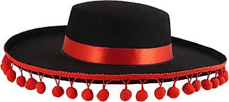 Islander Fashions Unisex Black Spanish Hat with Bobbles Mens Mariachi Fancy Dress Book Week Hat One Size
