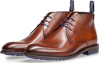Floris Van Bommel Dunkler cognacfarbener Kalbsleder-Schnürstiefel, Boots, Lederstiefel, Leder Stiefeletten, Leder Stiefeletten, Handgefertigt