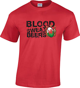 Tim And Ted Wales Rugby Supporters T Shirt Blood, Sweat and Beers - (Red/XXXXX-Large)