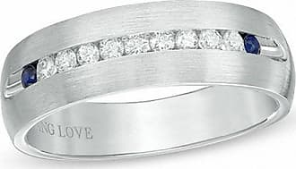 Zales Vera Wang Love Collection Mens 1/4 CT. T.w. Diamond and Blue Sapphire Wedding Band in 14K White Gold