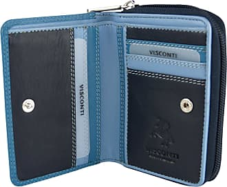 Visconti Ladies Compact Leather Purse/Wallet Shades of Colours Gift Boxed Fashion (Shades of Blues)