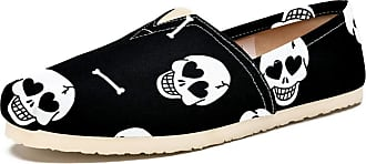 Tizorax Slip on Loafer Shoes for Women Heart Eye Skull and Bones Comfortable Casual Canvas Flat Boat Shoe