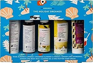 Korres Körperpflege The Holiday Dreamer Set Mask Almond & Linseed 40 ml + Shampoo Almond & Linseed 40 ml + Ginger Lime Showergel 40 ml + Ginger Lime Body Mil