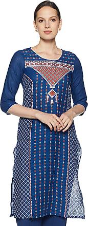 Aurelia Womens Cotton Straight Kurta (19FEA10499-500211_Blue_Medium)