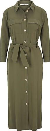 Tom Tailor Blusenkleid mit Bindegürtel in Midi-Länge, Damen, Woodland Green, Größe: 36