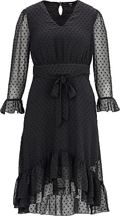 TIGHA Damen 3//4 Arm Kleid leicht Seide elegant
