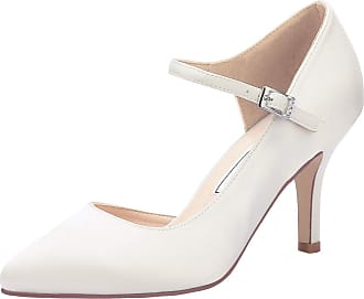 Elegantpark HC2011 Wedding Shoes for Women Pointed Toe High Heels Court Shoes Straps DOrsay Buckle Wedding Party Bridal Shoes Ivory UK 5(EU 38)