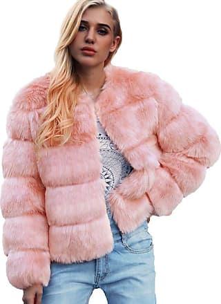 FNKDOR LEXUPE Women Autumn Winter Warm Comfortable Coat Casual Fashion Jacket Ladies Warm Faux Fur Coat Jacket Solid Winter Gradient Parka Outerwear Pink