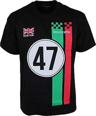 Lambretta Mens Tshirt Crew Neck Loose FIT in Five Colours S to 2XL (S, Black)