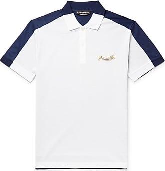 Alexander McQueen Slim-fit Colour-block Cotton-piqué And Jersey Polo Shirt - White