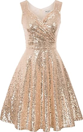 Grace Karin 50s Hepburn Fancy Dress Summer Sequins V-Neck Knee Length A-line Flared Communion Prom Dress S Rose Gold