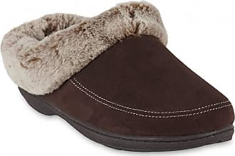 Dearfoams Womens Microsuede Memory Foam Clog Slipper Brown Size: 11-12