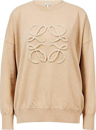 Loewe Woll-Pullover mit gesticktem Anagram Beige