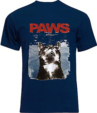 Gildan Paws Jaws Parody Cat Lovers Funny Mens Tee Shirt Top - Navy - 22 inches - X-Large