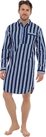Lora Dora Strong Souls Mens Traditional Nightshirt Brushed Flannel Cotton Pyjamas Navy Striped Medium