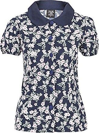 Küstenluder DIXIE 50s Vintage ROSE Floral Bow Bluse SHIRT Dunkelblau Rockabilly