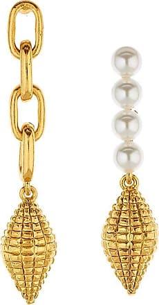Oscar De La Renta Harp Shell 24kt gold-plated earrings