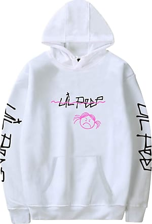 OLIPHEE Mens Hoodies Harajuku Design Sad Girl Printed Lil Peep Casual Hip Hop Streetwear White 2XL