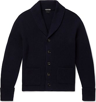 Tom Ford Slim-fit Shawl-collar Ribbed Cashmere Cardigan - Navy