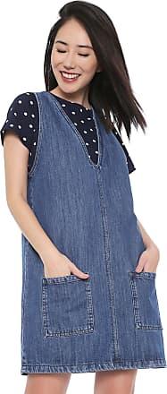 Colcci Vestido Jeans Colcci Curto Bolsos Azul
