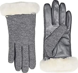 aea2432b9 UGG Short Italian Wool Blend Tech Gloves with Long Pile Sheepskin Trim  (Light Grey)