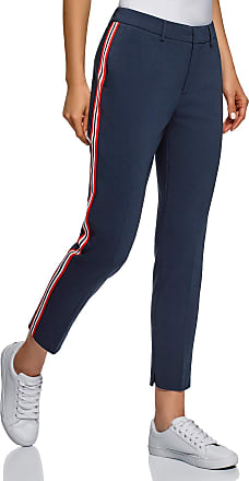 oodji Collection Womens Side Stripe Slim-Fit Trousers, Blue, 10