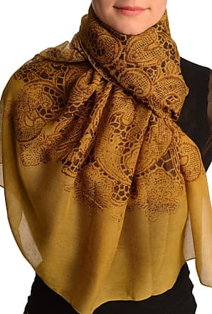 Liss Kiss Large Floral Printed Lace On Mustard Brown - Brown Floral Scarf
