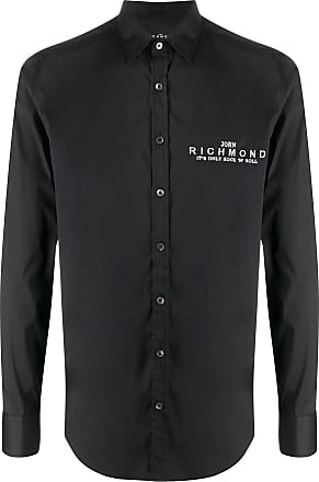 John Richmond Camisa mangas longas com logo bordado - Preto