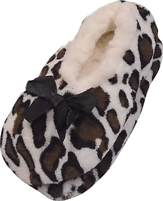 Foxbury Ladies Cosy Supersoft Novelty Slippers with Grip Brown Camoflage S/M