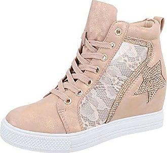 Ital-Design Sneakers High Damen-Schuhe Sneakers High Keilabsatz Wedge  Keilabsatz Schnürsenkel Freizeitschuhe 5f6d415652
