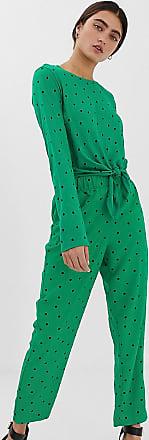 Monki Pantaloni con pinces verdi a pois e triangoli-Verde