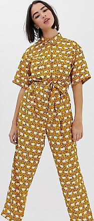 Monki Tuta jumpsuit allacciata davanti gialla a pecorelle-Multicolore