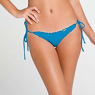 Luli Fama Womens Cosita Buena Wavey Tie Side Ruched Brazilian Bottom, Turquoise Paradise, X-Small