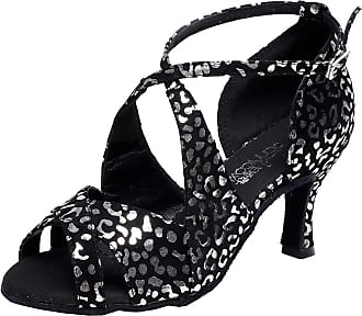 Find Nice Womens Comfort Latin Salsa Tango Ballroom Cha-cha Dance-Shoes Peep Toe 6190 Black 8.5 UK
